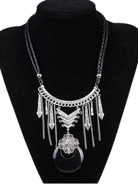 Kunstleder Mond Braid Gravierte Halskette - Silber und Schwarz