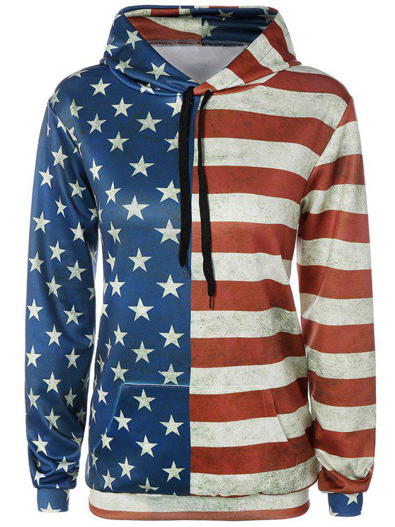 hot American Flag Print Front Pocket Outerwear Hoodie - COLORMIX M