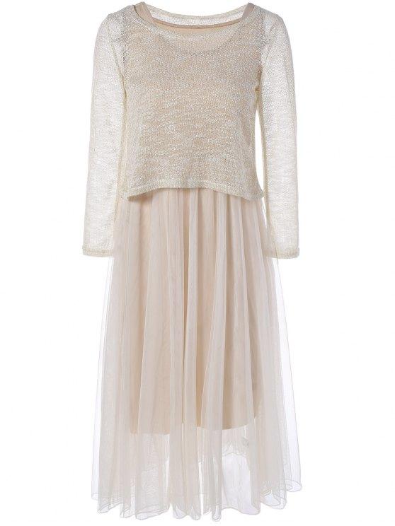 best Mesh Spliced Tank Dress With Knitwear - APRICOT ONE SIZE