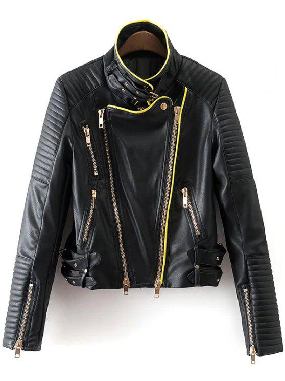 fashion Zip and Buckle Design Faux Leather Jacket - BLACK S