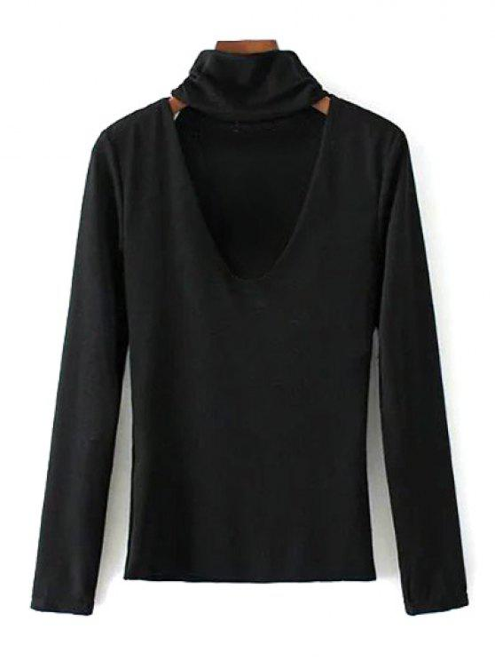 affordable Turtle Neck Knitwear - BLACK S