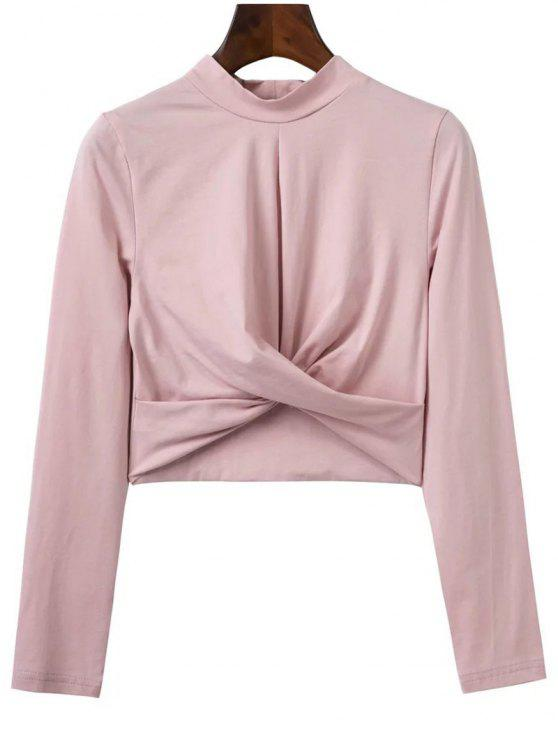 women Cropped High Collar T-Shirt - PINK M