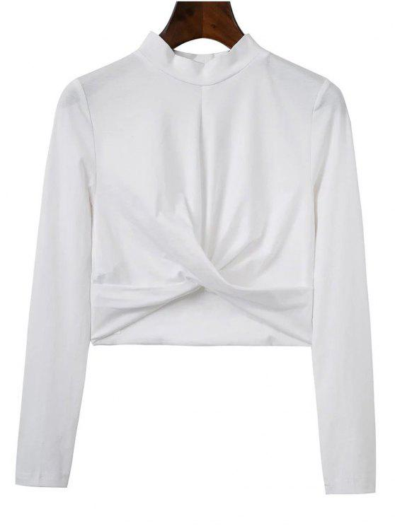 sale Cropped High Collar T-Shirt - WHITE L