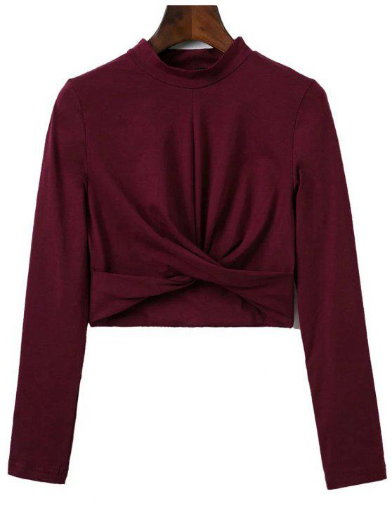best Cropped High Collar T-Shirt - WINE RED S
