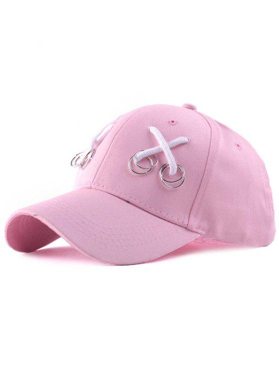 buy Casual Iron Ring Lace-Up Adjustable Baseball Cap - PINK