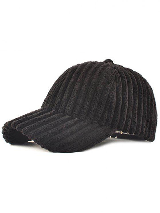 Casual Corduroy Thick Stripe Baseball Cap réglable - Noir