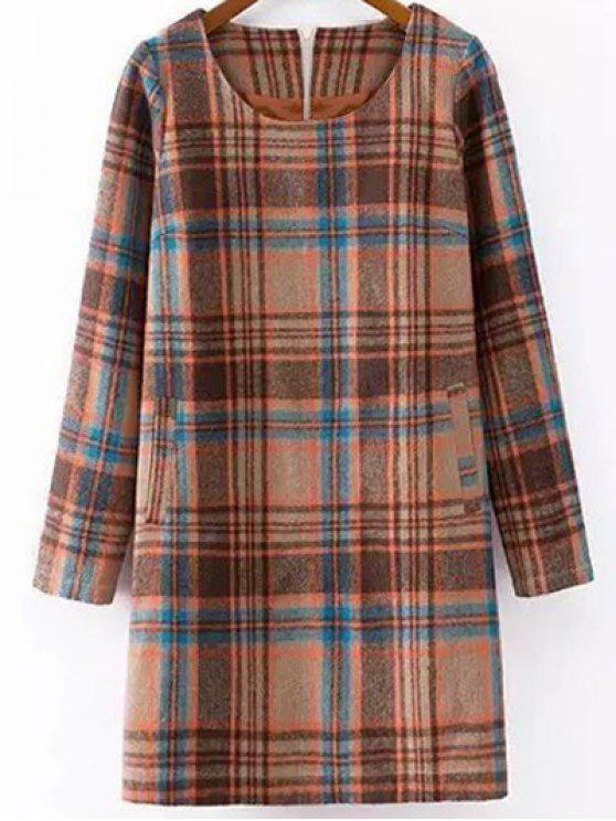 Vestido Recto de Cuadro con Combinación de Lana - Colormix XL