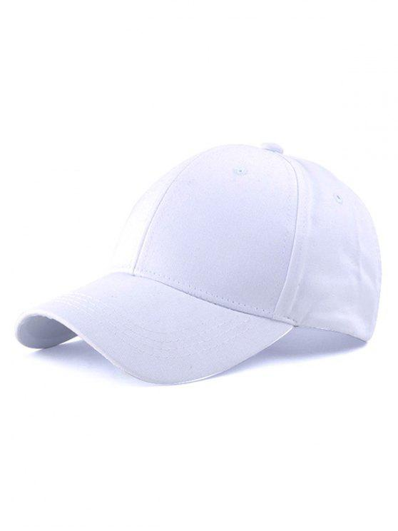 fashion Casual Long Strap Adjustable Baseball Cap - WHITE