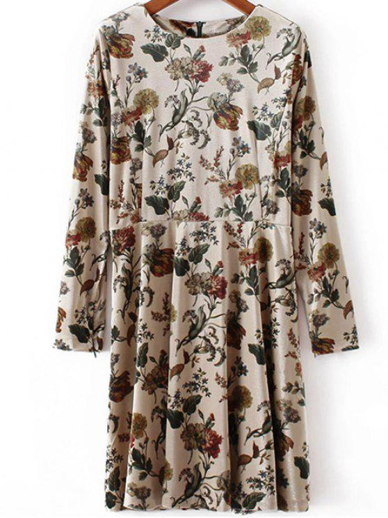 hot Floral Print Velvet Skater Dress - PINKBEIGE L