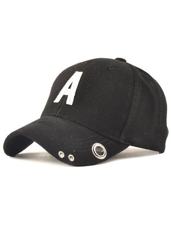 Casual Corduroy Stripe Baseball Lettres Adjustable Cap - Noir