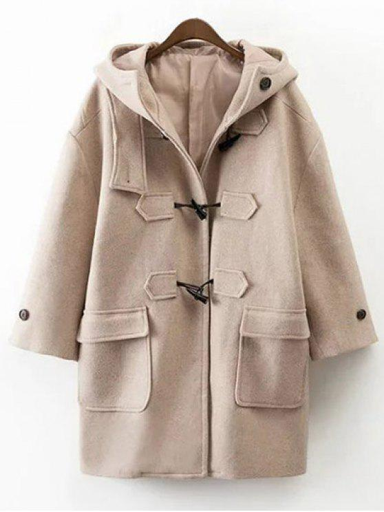 ladies Hooded Duffel Walker Coat - KHAKI M