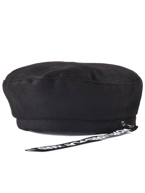 chic Casual Letters Strap Flat Top Beret Cap - BLACK