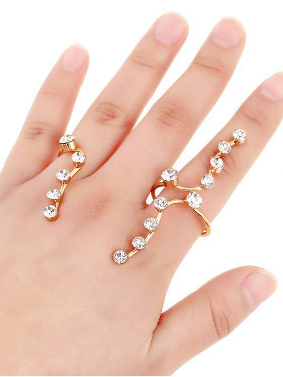 trendy Rhinestone Gold Plated Ring - GOLDEN