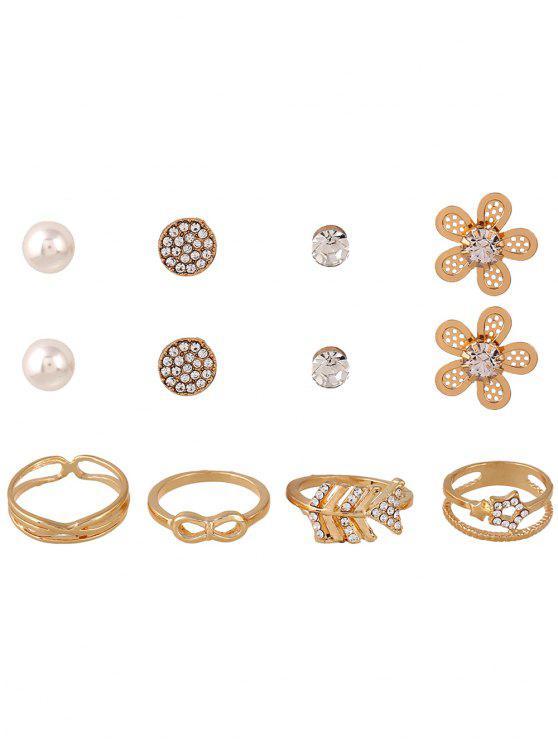 8PCS strass conjunto de jóias - Dourado