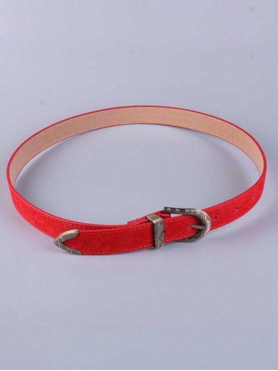 women Trousers Wear Embellished Buckle Belt - RED
