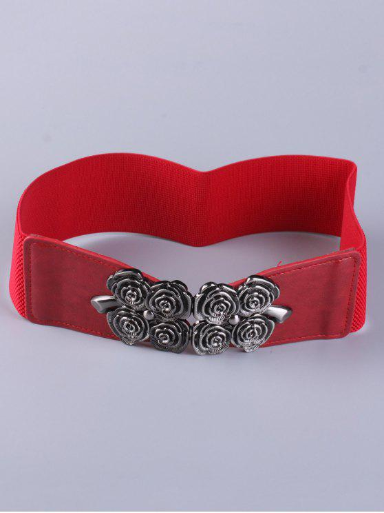 ladies Coat Wear Floral Buckle Belt - RED