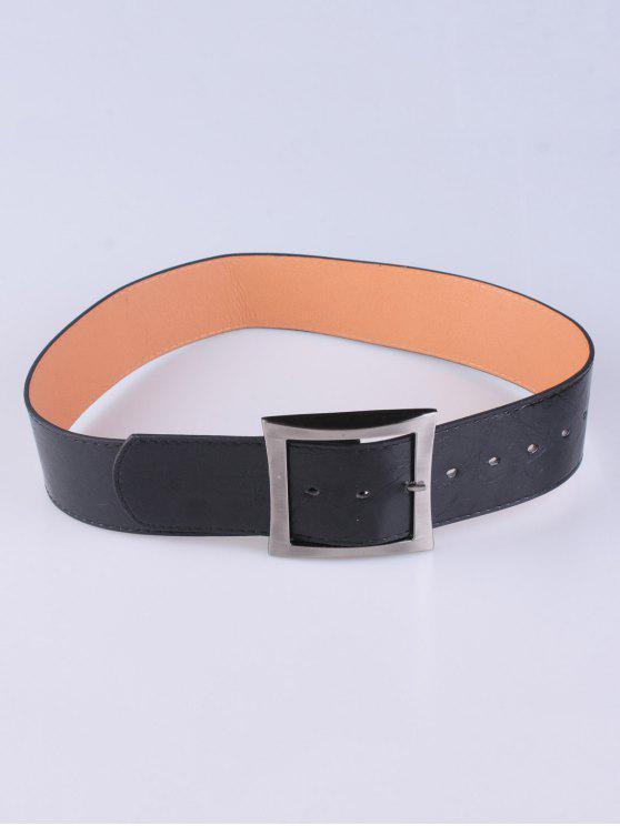 Capa del desgaste de la plaza hebilla de cinturón - Negro