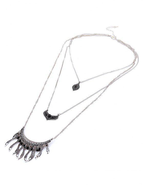 Hojas de diamantes de imitación collar de perlas de Capas - Negro