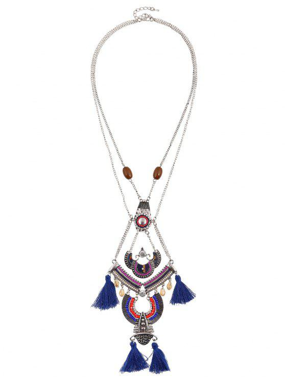buy Bohemian Rhinestone Beaded Geometric Tassel Necklace - SAPPHIRE BLUE