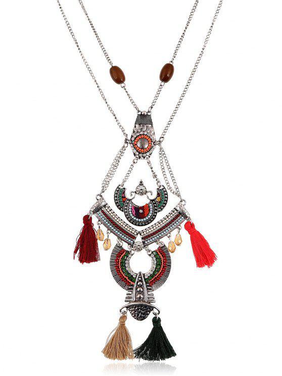 Borla collar geométrico bohemio rebordeado Rhinestone - Colormix