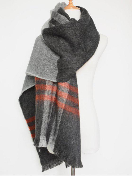 fashion Big Plaid Pattern Tassel Scarf - GRAY