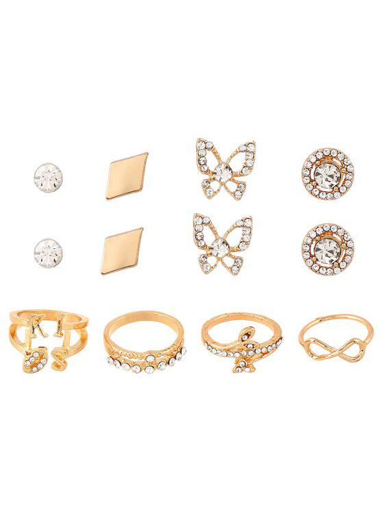 Hojas infinitos anillos y pendientes del Rhinestone - Dorado Uno de tamaño