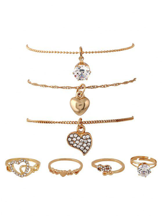 fashion Rhinestone Heart Infinite Rings and Necklaces - GOLDEN ONE-SIZE