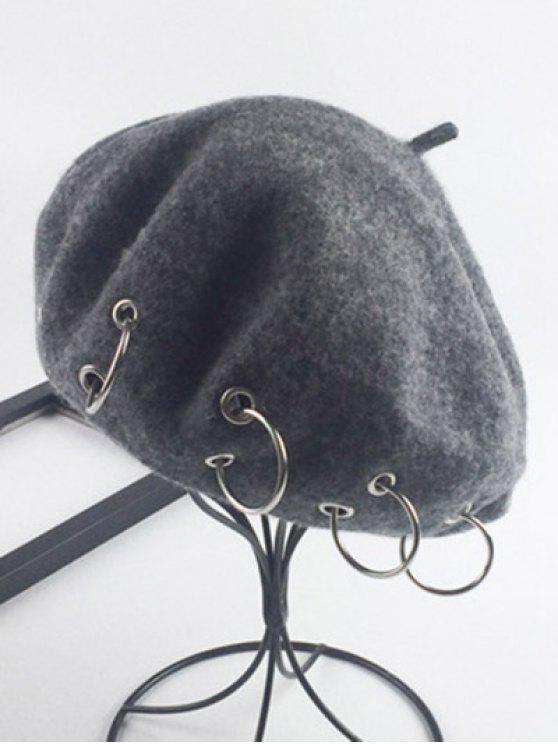 Warm Wool Circle Embellished Beret - Deep Gray