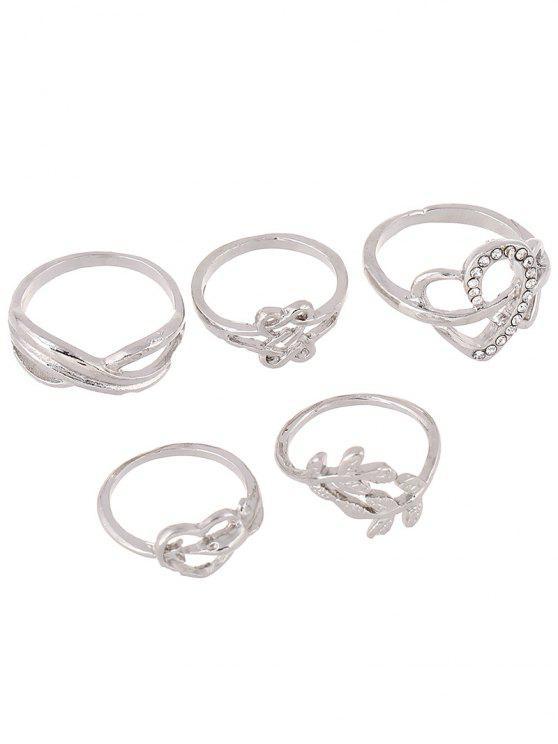 fancy Rhinestone Infinite Heart Ring Set - SILVER ONE-SIZE