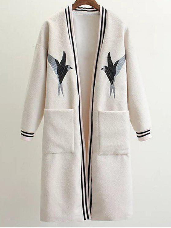 outfit Collarless Bird Embroidered Coat - WHITE M