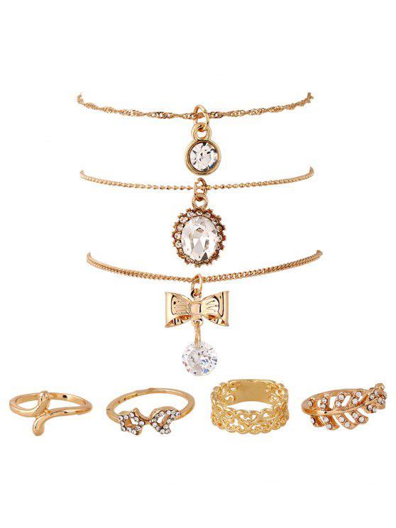 Strass Bögen hängende Halsketten und Ringe - Golden