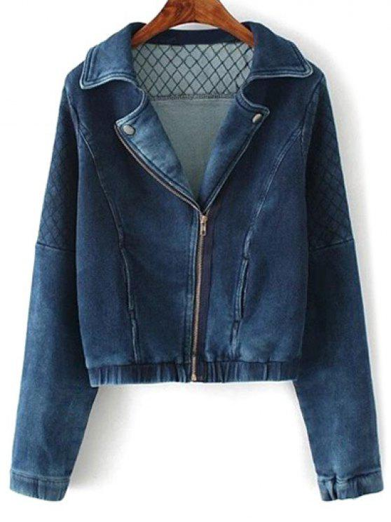 fancy Argyle Zippered Denim Jacket - DEEP BLUE M