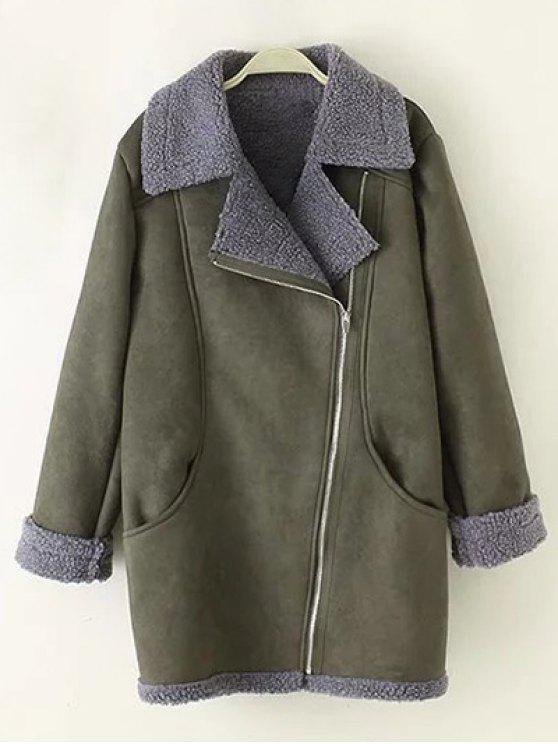 ladies Zip-Up Faux Suede Coat - ARMY GREEN 2XL