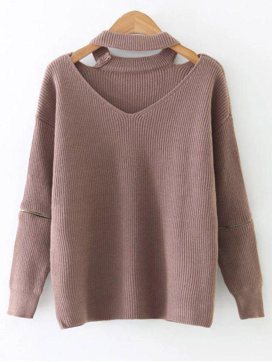 best Zipped Sleeve Choker Jumper - PINK ONE SIZE
