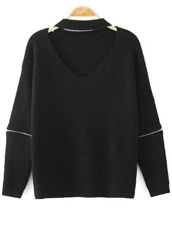 online Cut Out V Neck Choker Jumper - BLACK ONE SIZE