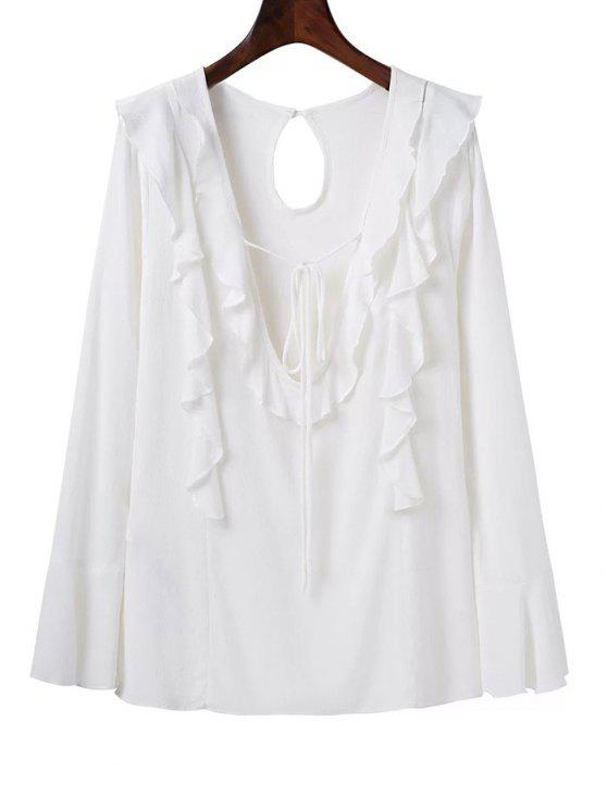 Plongeant Neck Frilly Blouse - Blanc S