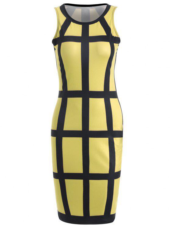 Vestido Checked Pencil - Amarelo L