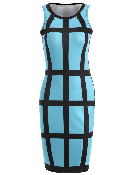 hot Checked Pencil Dress - AZURE S