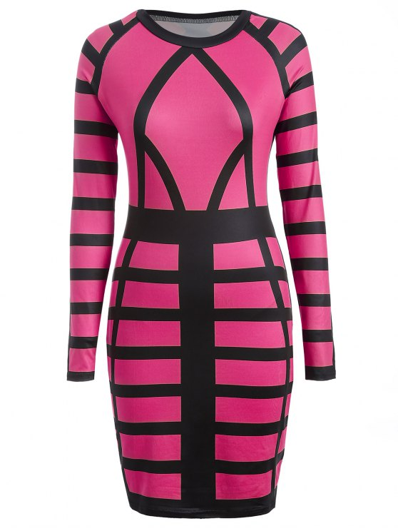 shops Check Print Long Sleeve Bodycon Dress - ROSE RED S
