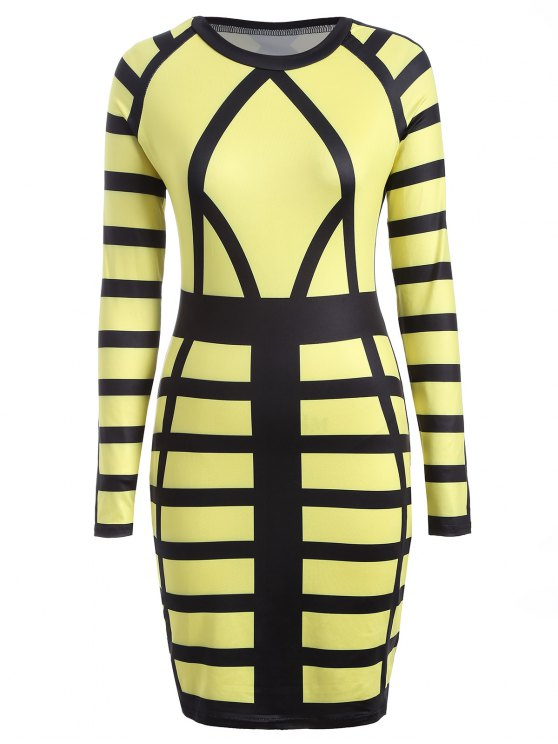 Verre à imprimé Long Sleeve Bodycon Dress - Jaune L