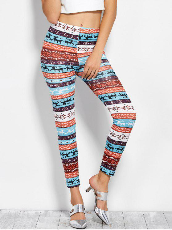 fancy Printed Skinny Christmas Leggings - COLORMIX ONE SIZE