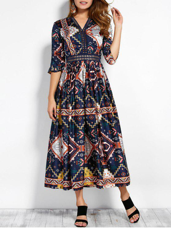 shop V Neck Hollow Out Retro Print Maxi Dress - COLORMIX M