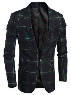 Single Breasted Notch Lapel Plaid Blazer - Green L