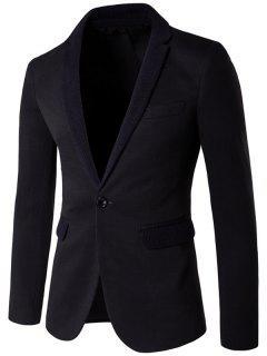 Knitting Lapel One-Button Blazer - Black L