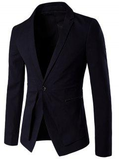 Slim Fit Single Button Lapel Spliced Blazer - Black M