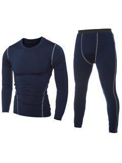 T-shirt à Col Rond + Pantalon De Sport à Taille élastique - Bleu Cadette M