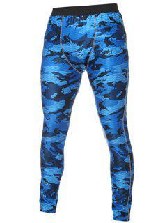 Pantalon De Sport Moulant à Taille élastique ,couleur Camouflage - Bleu L