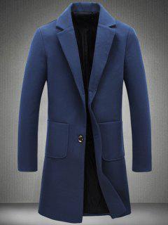 Notch Lapel Patch Pocket Back Vent Woolen Coat - Cadetblue 5xl