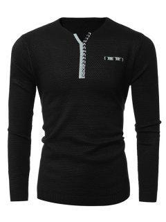 Notch Neck Button Embellished Texture Sweater - Black Xl