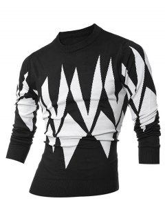 Ribbed Geometric Pattern Crew Neck Sweater - Black Xl